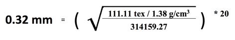 Formula for diameter (mm) of 1000DN Polyester